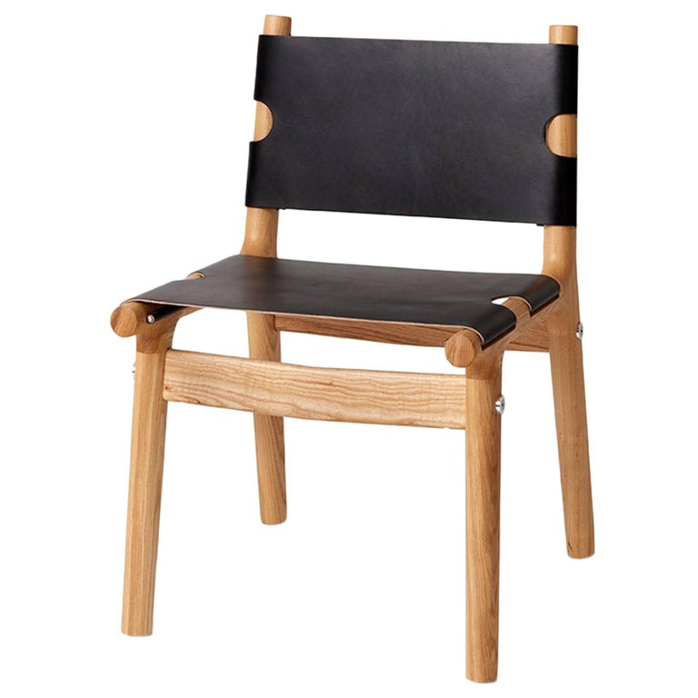 204 Dining Chair, Modern Ash Hardwood, Black Harness Leather, Polished Aluminum