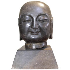 Head of Monk Granite China 19th Century Decorative Sculpture