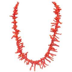 Antique Natural Coral Branch Necklace