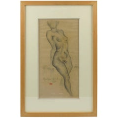 Nude Female Study Pencil Drawing on Paper by Marie Louise Simard Dated 1934