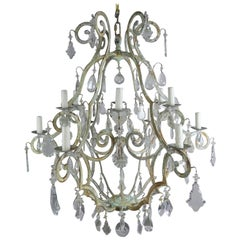 Italian Painted Wrought Iron Twelve-Light Chandelier, circa 1930s