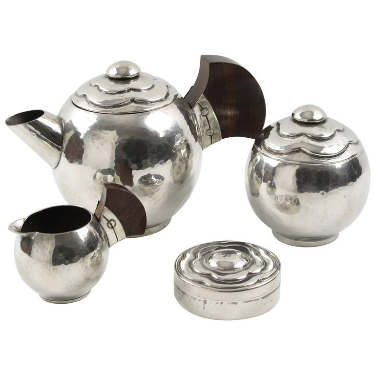 Pierre-Lucien Dumont French Art Deco Polished Pewter Tea or Coffee Set - 4 pc
