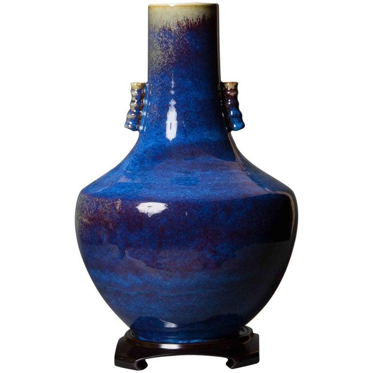 Blue Glazed Ceramic Scroll Handle Vase Chinese