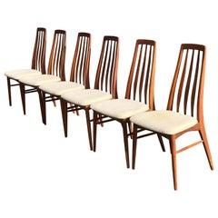 """Set of Six Teak """"Eva"""" Chair by Niels Koefoed for Hornslet Mobelfabrik in Tea"""