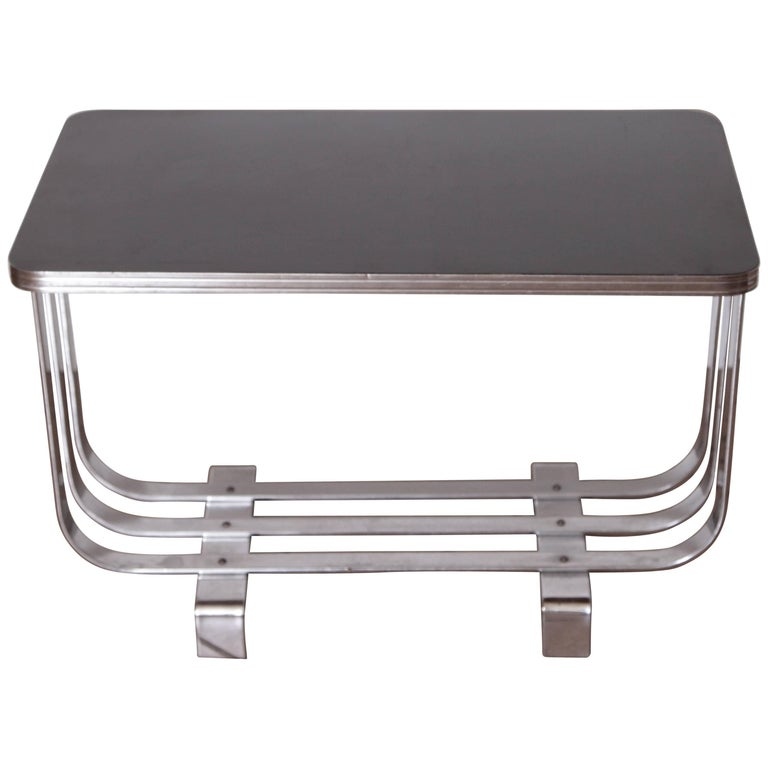 Machine Age Art Deco KEM Weber Lloyd Chromium Furniture Cocktail Table, Lloyd's For Sale