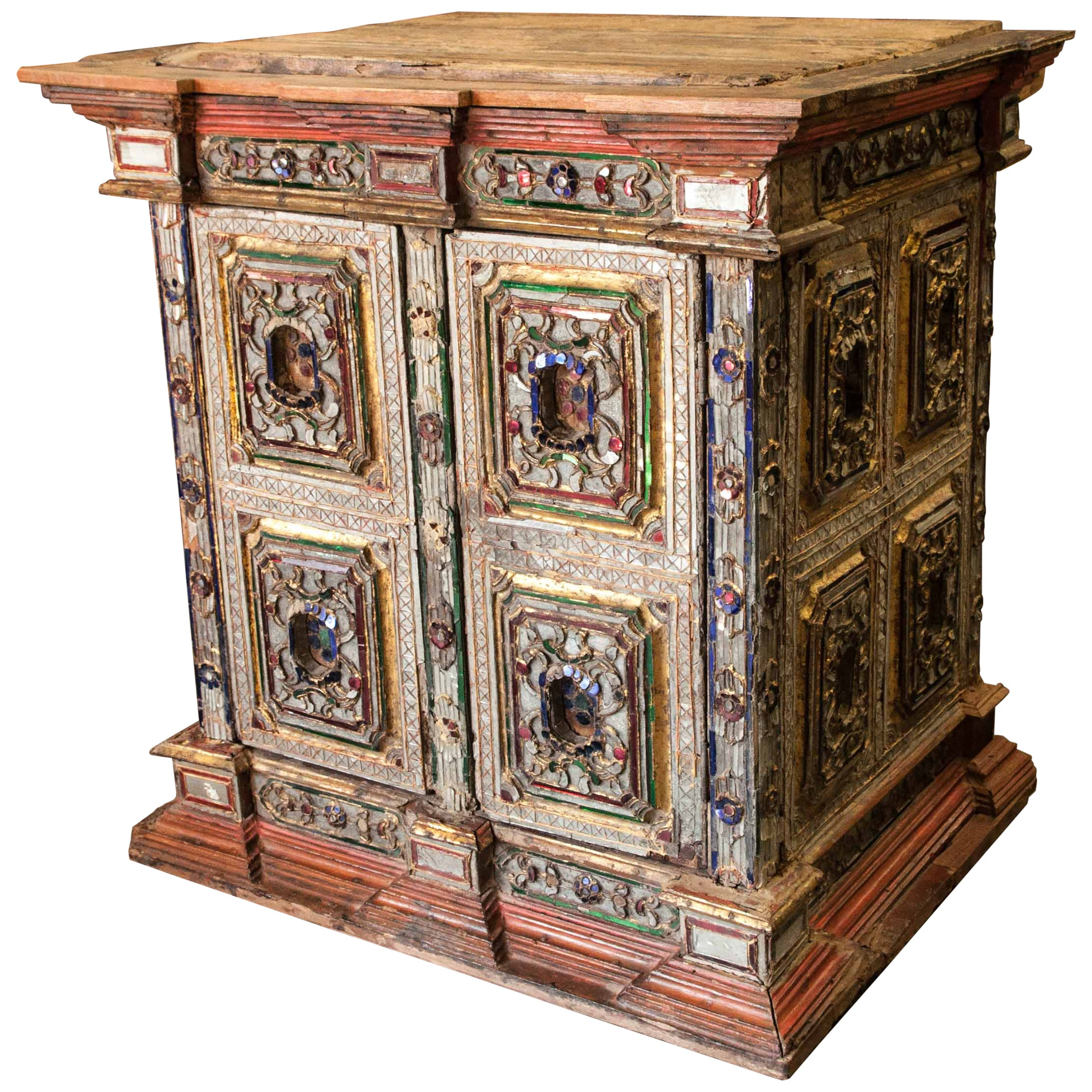 Buddhist Teak Scripture Cabinet from Burma with Inlay Glass, Early 20th Century