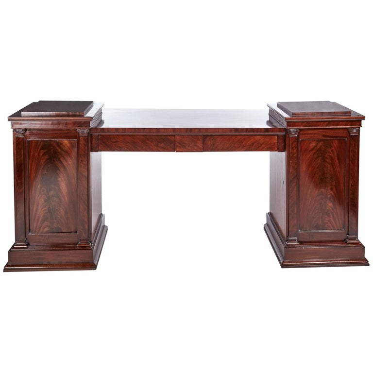 Outstanding Quality Antique Mahogany Pedestal Sideboard