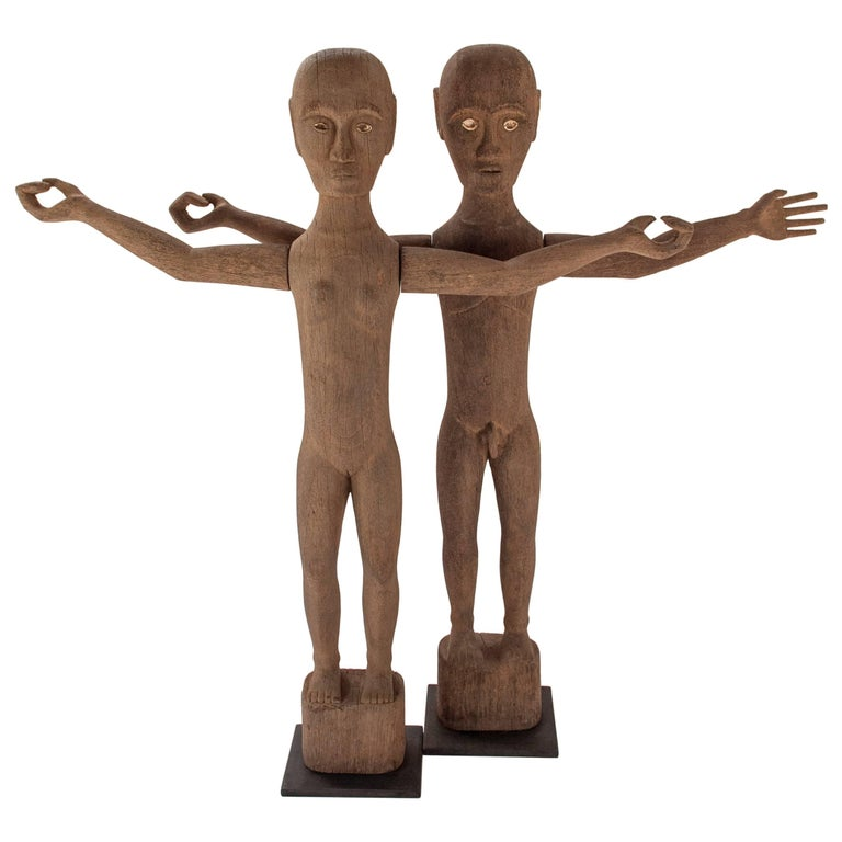 Tribal Hampatong Pantak Ancestor Statues from West Borneo. Mid-Late 20th Century