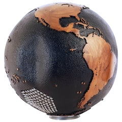 107 Stainless Bolts on a Unique Black Beauty Wooden Globe