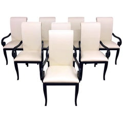 Set of Eight Sinuous Art Deco Chairs