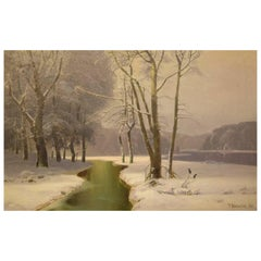 J. Holmsted, Scandinavian Painter Oil on Canvas Winter Landscape from 1889