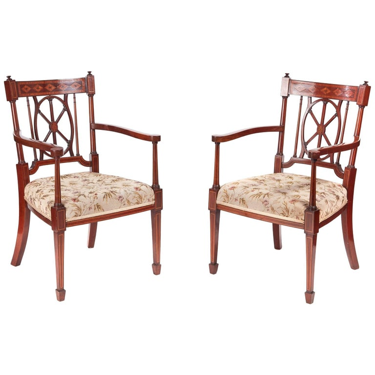 Fine Pair of Antique Mahogany Inlaid Arm/Desk Chairs