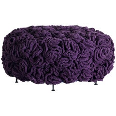 Handmade Crochet Elements Cotton and Polyester Mini Pouf