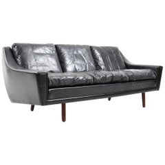 1960s Georg Thams Black Leather Three-Seat Sofa