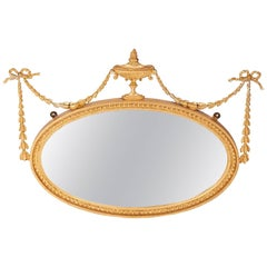 Antique Adam Style Gilt Oval Wall Mirror