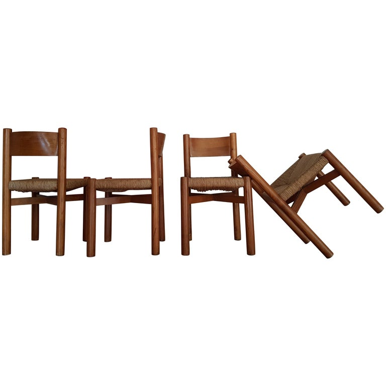 Charlotte Perriand set of four Méribel chairs, 1960, offered by Mineral Wood