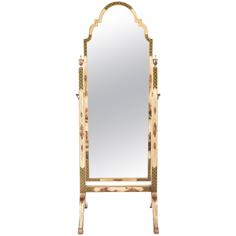 Antique Chinoiserie Decorated Cheval Mirror
