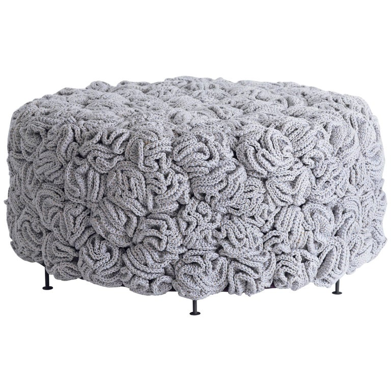 handmade textile and matte black iron crochet knit rug stool for sale at 1stdibs. Black Bedroom Furniture Sets. Home Design Ideas