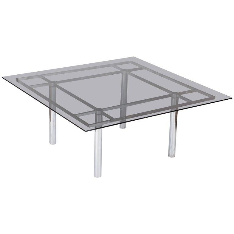 Tobia Scarpa Large Square Chrome Dining Table for Knoll Model André