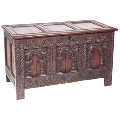 Fantastic 18th Century Antique Carved Oak Panelled Coffer