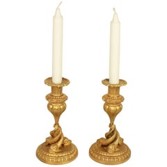 Pair of 19th Century Ormolu Candlesticks with Entwined Dolphins