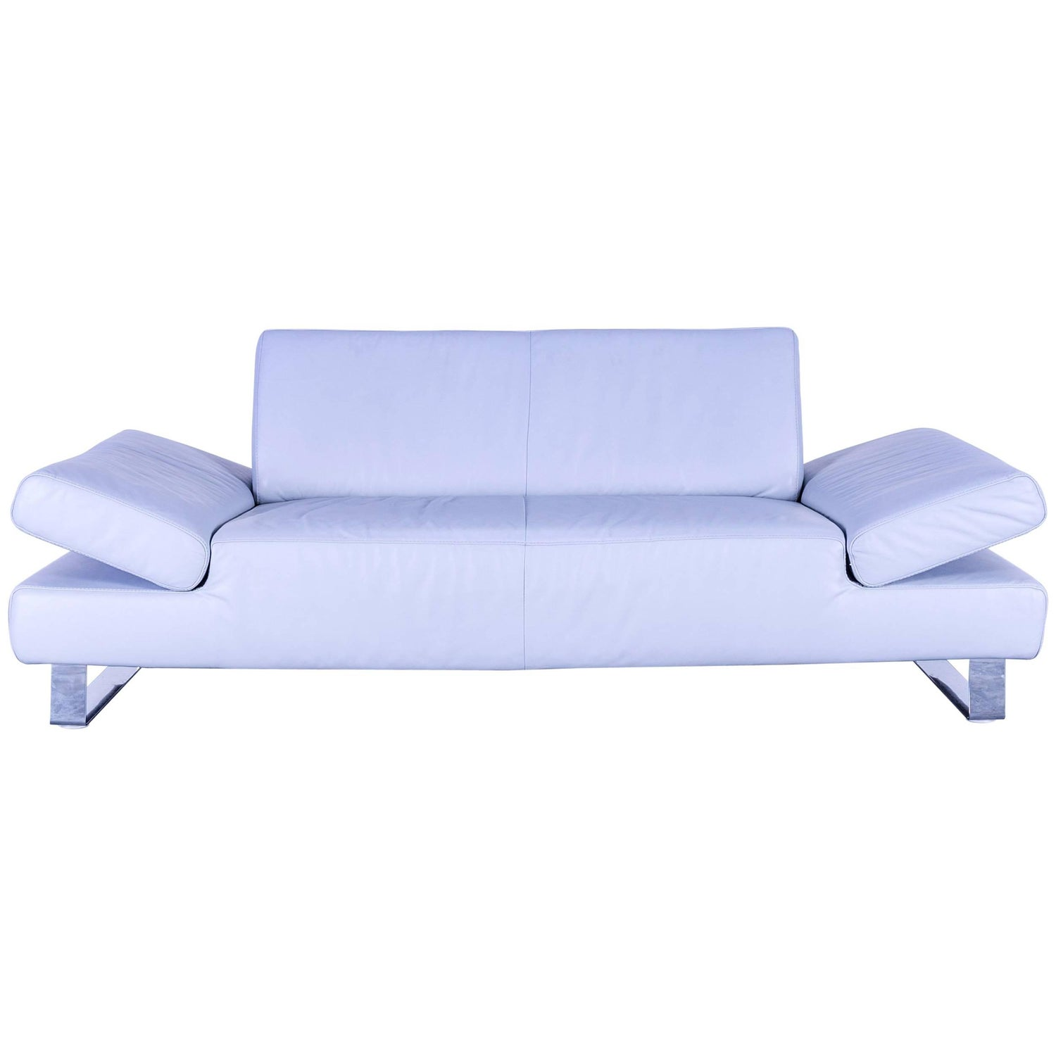 Willi Schillig Designer Sofa Two Seat Blue Leather Couch Modern