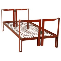 Single Bed Designed by Tobia Scarpa Lacquered Metal Vintage, Italy, 1960s