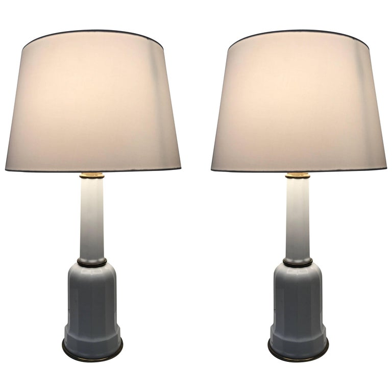 Pair of Large Art Deco Heiberg Porcelain and Brass Table Lamps Denmark