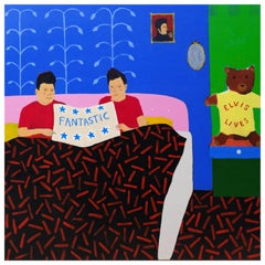 'Fantastic Message' Portrait Painting by Alan Fears Elvis Bedroom Interior