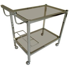Modern Bar Cart Trolley Chrome with Brown or Green Glass