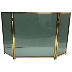 Brass Three-Panel Fireplace Screen