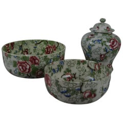 Group of Three Pieces of Chinese Rose Pottery, English, 1920s