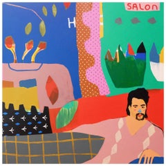 'A Little Off The Top' Portrait Painting by Alan Fears Hairdresser Haircut