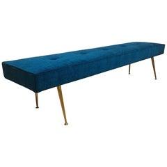 Midcentury Italian Gio Ponti Style Blue Velvet and Brass Bench