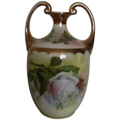 19th Century Porcelain Vase with Roses Painting