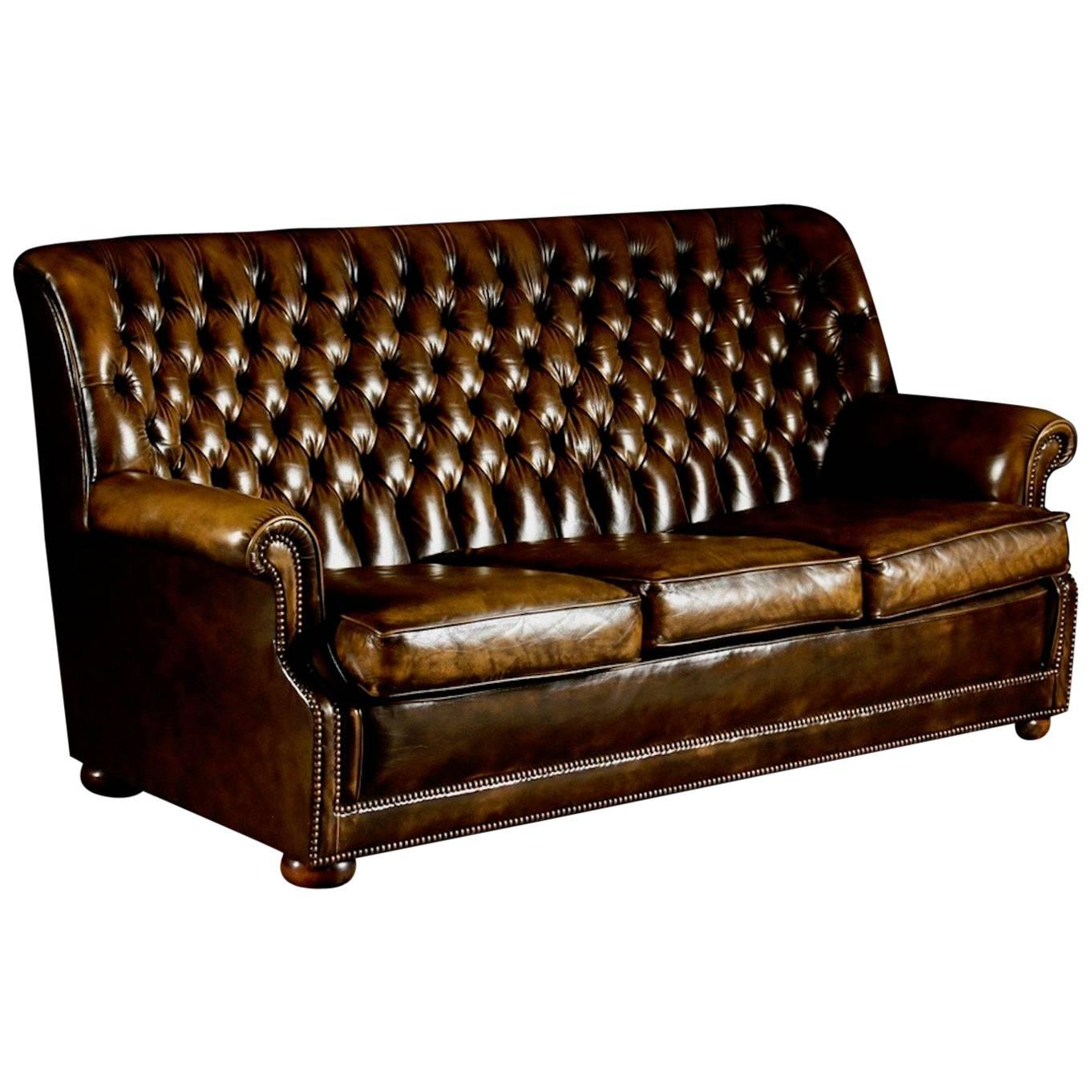 Brown Leather Pegasus Chesterfield Sofa By Art Forma Upholstery Ltd For Sale