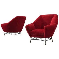 Red Italian Club Chairs, circa 1950