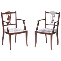 Pair of Antique Mahogany Inlaid Armchairs