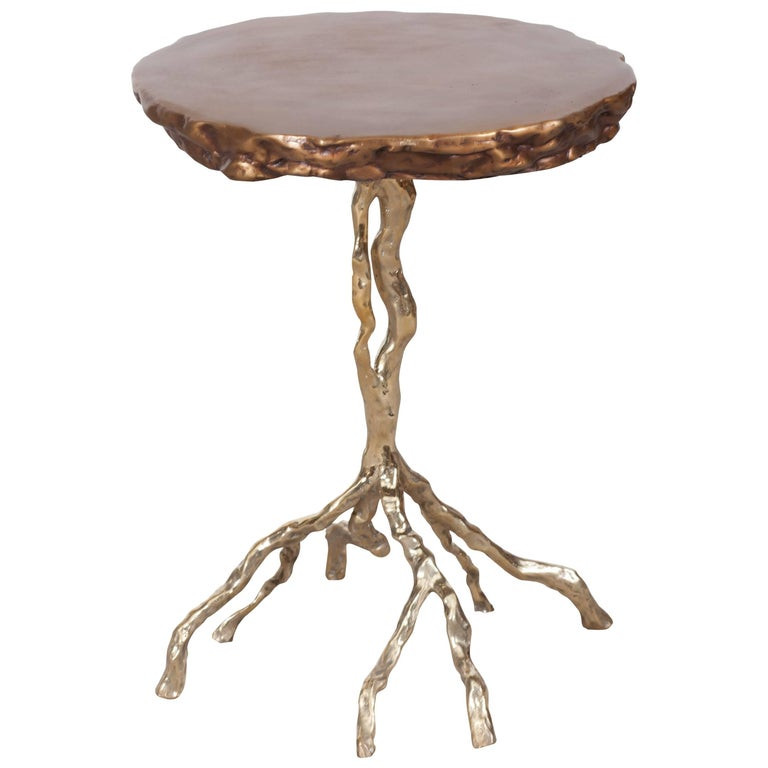 "Hand Casted and Polished Bronze ""Root"" Side Table"
