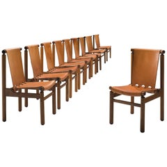 Set of Ten Dining Chairs in Cognac Leather
