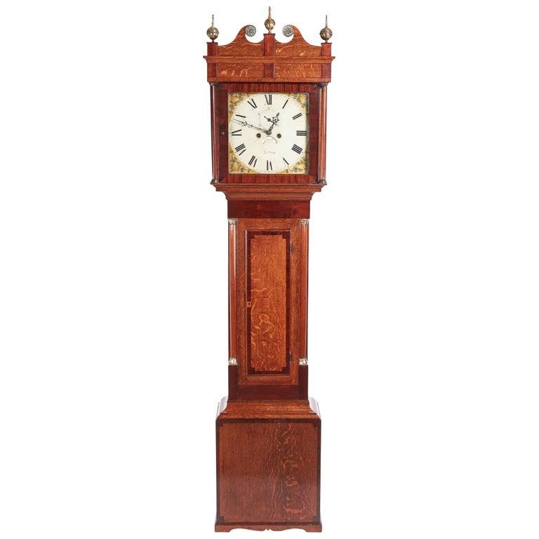 Antique Oak 8 Day Longcase Clock For Sale