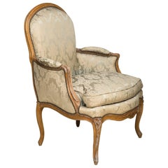 Louis XV Period Beech Bergere or Armchair Upholstered in Pale Silk Damask
