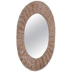 Oval Ceramic Tile Mirror by Guy Trévoux