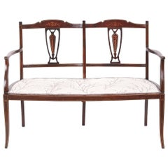 Antique Mahogany Inlaid Settee