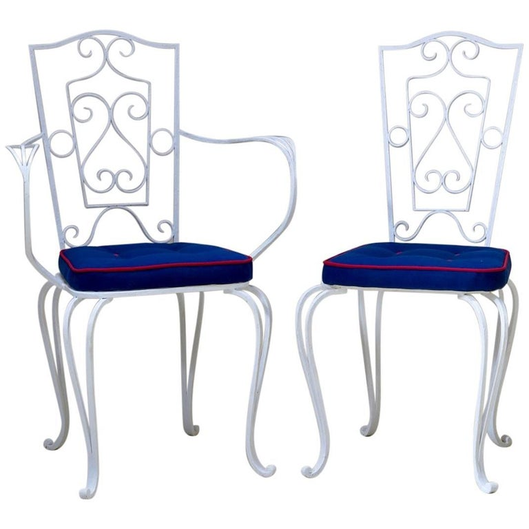 8 French 1940s Wrought Iron Chairs and Armchairs