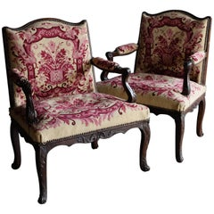 Pair of Small French Early 18th Century Louis XV Open Armchairs