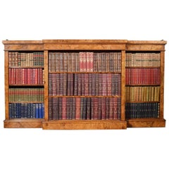 Large Victorian Figured Walnut Dwarf Open Bookcase