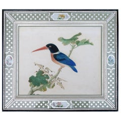 China Trade Large Watercolor Painting of a Bird, Kingfisher, circa 1800-1820