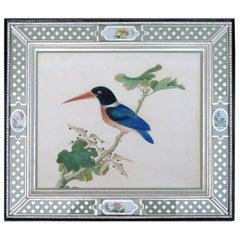 China Trade Large Watercolor Painting of a Bird, Kingfisher, circa 1800-1820