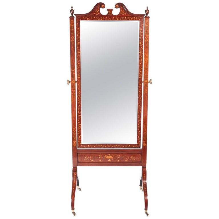 Outstanding Antique Mahogany Inlaid Cheval Mirror